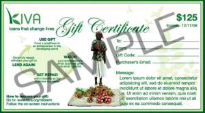 KIVA gift certificate sample