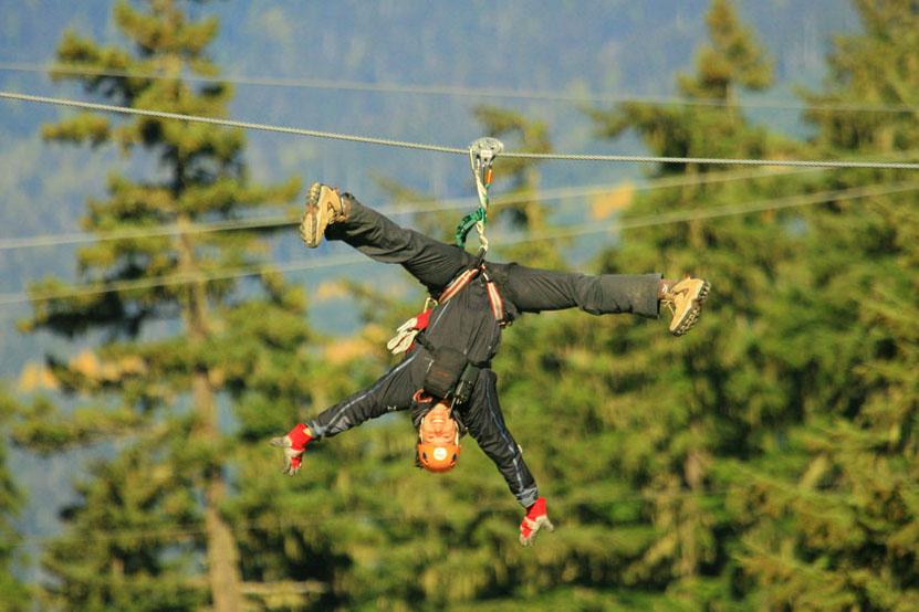 A guest experience a Ziptrek zip line