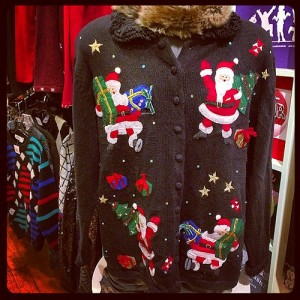 Ugly Holiday Sweater filled with Santas from Haight St Store