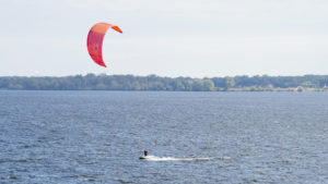 lake michigan, kite surfer