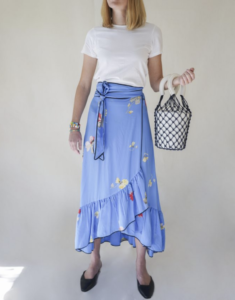 Front Row Fashion, shopping, Staud bucket bag, Ganni skirt, start-up