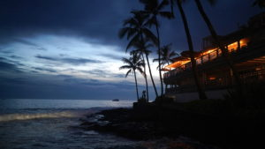 Kona, Hawaii, sunset, pacific ocean, waves, palm trees, restaurant lights,